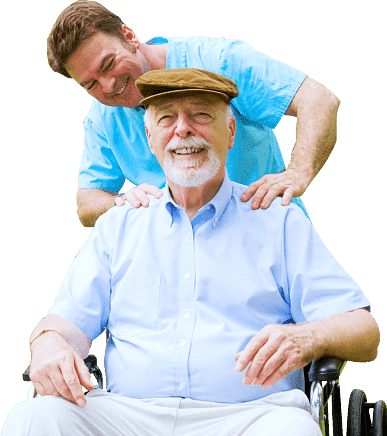 elder man being massaged by a caregiver