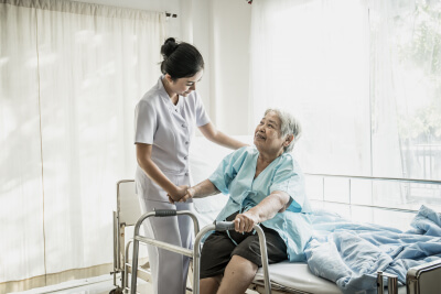 nurse take care of senior patient